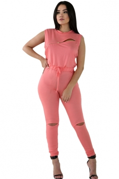 Womens Stylish Zip Line Front Cut Out Plain Jumpsuit Pink