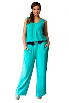 Womens Sexy Plus Size Sleeveless Palazzo Jumpsuit Turquoise