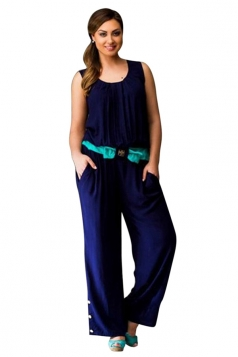 Womens Sexy Plus Size Sleeveless Palazzo Jumpsuit Navy Blue