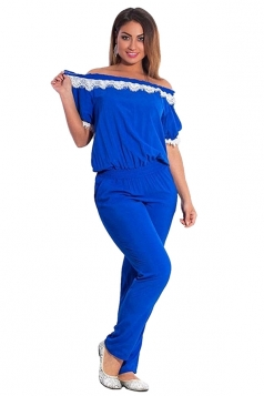 Womens Elegant Plus Size Lace Trim Short Sleeve Jumpsuit Sapphire Blue