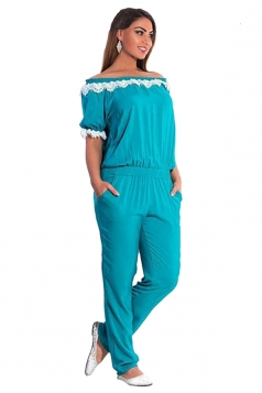 Womens Elegant Plus Size Lace Trim Short Sleeve Jumpsuit Turquoise