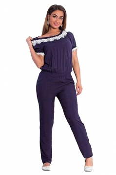 Womens Elegant Plus Size Lace Trim Short Sleeve Jumpsuit Navy Blue