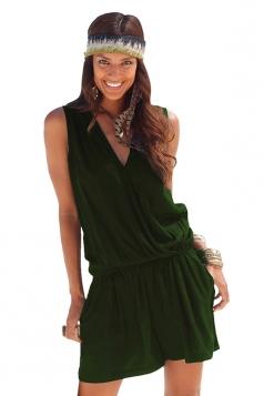 Womens Casual V Neck Sleeveless Elastic Waist Romper Dark Green