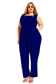 Womens Sexy Plus Size V Back Draped Sleeveless Jumpsuit Blue
