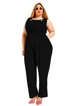 Womens Sexy Plus Size V Back Draped Sleeveless Jumpsuit Black