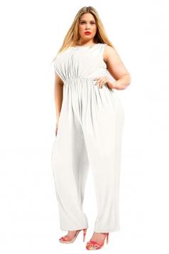 Womens Sexy Plus Size V Back Draped Sleeveless Jumpsuit White