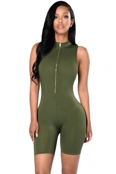 Womens Sexy Zip Front Mock Neck Cropped Romper Green