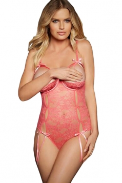 Womens Sexy Open Cup Lace-up Cut Out Teddy Pink