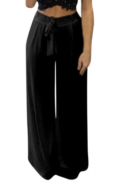 Womens Plain High Waist Chiffon Palazzo Leisure Pants Black
