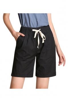 Womens Casual Drawstring-waist Plain Shorts Black