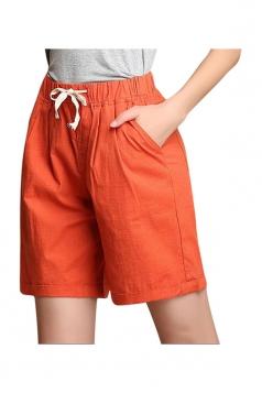 Womens Casual Drawstring-waist Plain Shorts Orange