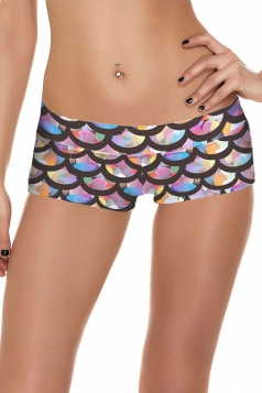 Womens Sexy Fish Scale Printed Sports Mini Shorts Pink