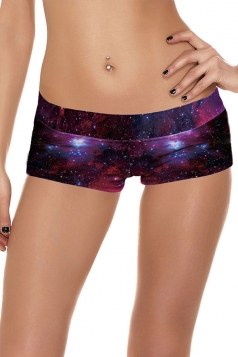 Womens Sexy Galaxy Printed Sports Mini Shorts Purple