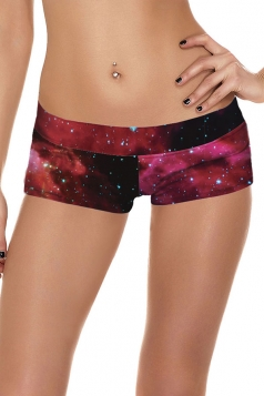 Womens Sexy Galaxy Printed Sports Mini Shorts Ruby