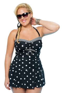 Womens Sexy Plus Size Polka Dot Ruched Skirts Swimsuit Black