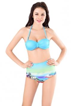 Womens Sexy Halter Bikini Top&High Waist Printed Swimsuit Bottom Blue