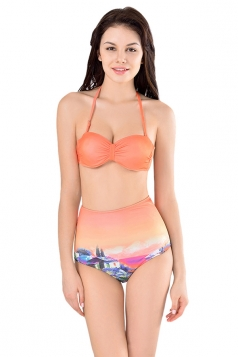 Womens Sexy Halter Bikini Top&High Waist Print Swimsuit Bottom Orange