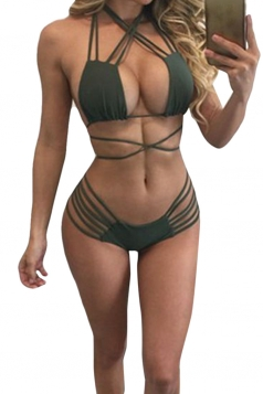 Womens Sexy Micro Mini Bikini Top&Strappy Swimsuit Bottom Army Green