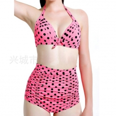 Womens Sexy Halter Polka Dot Top&High Waist Bottom Bikini Set Pink