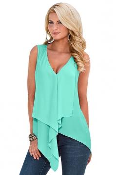 Womens Sexy Irregular Sleeveless Chiffon Blouse Turquoise
