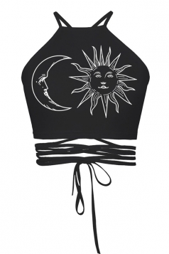 Womens Sexy Cross Lace-up Sun and Moon Printed Camisole Top Black