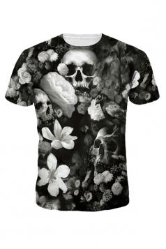Womens Slimming Crewneck Skull Printed T Shirt Dark Gray