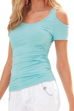 Womens Sexy Cold Shoulder Plain T Shirt Blue