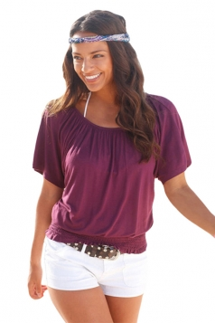 Womens Sexy Elastic Waist Short Sleeve T Shirt Purple
