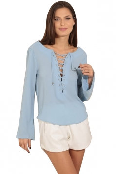 Womens Lace-up Front Backless Long Sleeve Blouse Light Blue