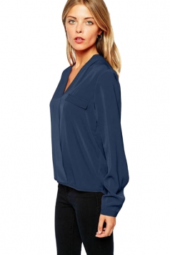 Womens V Neck High Low Long Sleeve Pullover Blouse Navy Blue