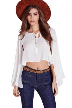 Womens Sheer Open Sleeve Crop Blouse White