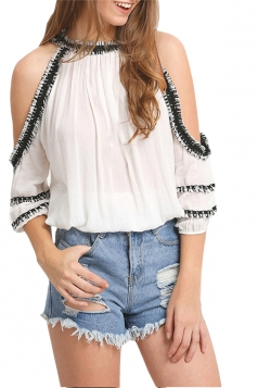 Womens Cold Shoulder Lace Trim Sheer Blouse White