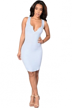 Womens Sexy Plunging Neck Plain Bodycon Tank Dress Light Blue