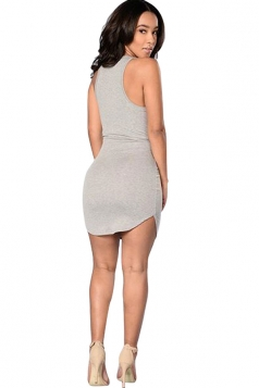 Womens Sexy Plunging Neck Plain Bodycon Tank Dress Light Gray