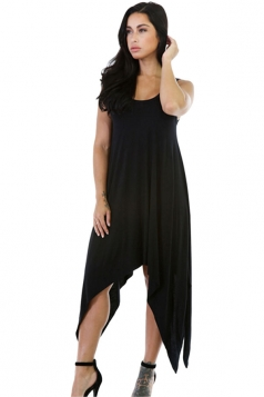 Womens Sexy Irregular Hem Plain Midi Tank Dress Black