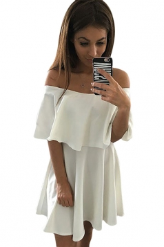 Womens Sexy Plain Off Shoulder Pleated Skater Dress White