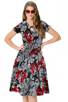 Womens Retro Floral Short Sleeves Swing Midi Dress Dark Gray