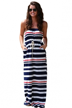Womens Striped Printed Strapless Maxi Dress Black