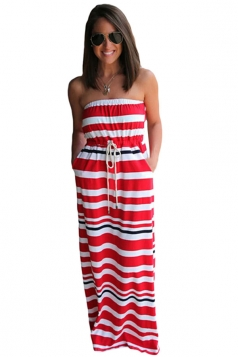 Womens Striped Printed Strapless Maxi Dress Red