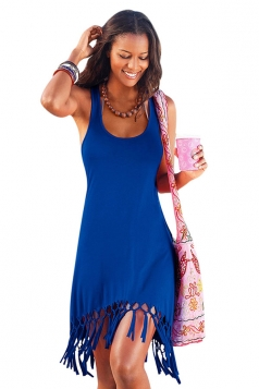 Womens U Neck Fringe Hem Plain Tank Dress Blue