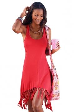 Womens U Neck Fringe Hem Plain Tank Dress Red