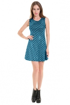Womens Mermaid Fish Scale Patterned Liquid Tank Dress Blue