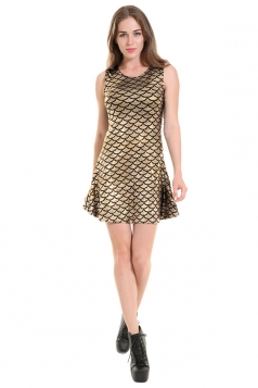 Womens Mermaid Fish Scale Patterned Liquid Tank Dress Gold