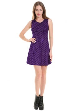 Womens  Mermaid Fish Scale Patterned Liquid Tank Dress Purple