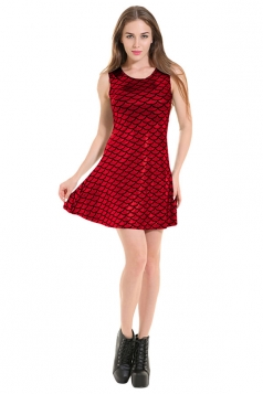 Womens Mermaid Fish Scale Patterned Liquid Tank Dress Red