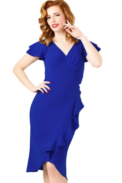 Womens V Neck Flutter Ruffled Sleeves Midi Dress Blue