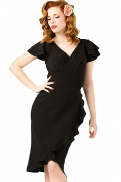 Womens V Neck Flutter Ruffled Sleeves Midi Dress Black