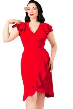 Womens V Neck Flutter Ruffled Sleeves Midi Dress Red