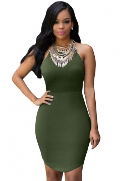 Womens Sexy Bodycon Strappy Backless Clubwear Dress Army Green