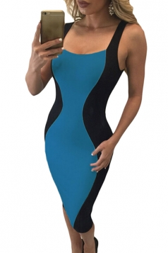 Womens Sexy Hourglass Shape Lace-up Back Bodycon Midi Dress Blue
